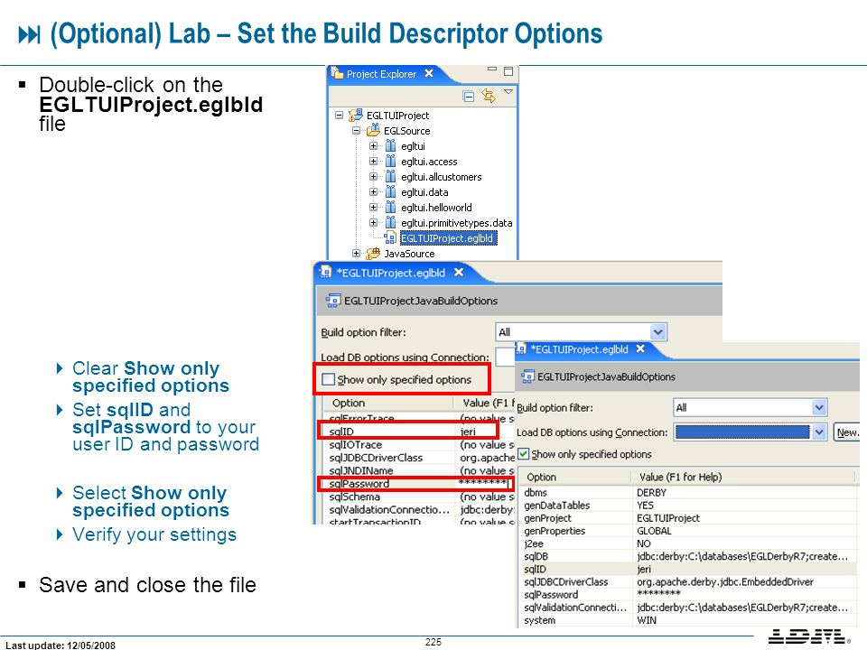  (Optional) Lab – Set the Build Descriptor Options
