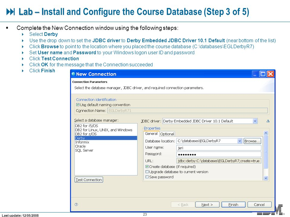  Lab – Install and Configure the Course Database (Step 3 of 5)