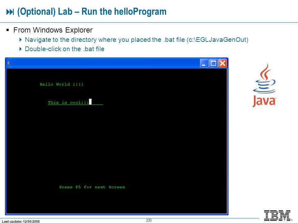  (Optional) Lab – Run the helloProgram
