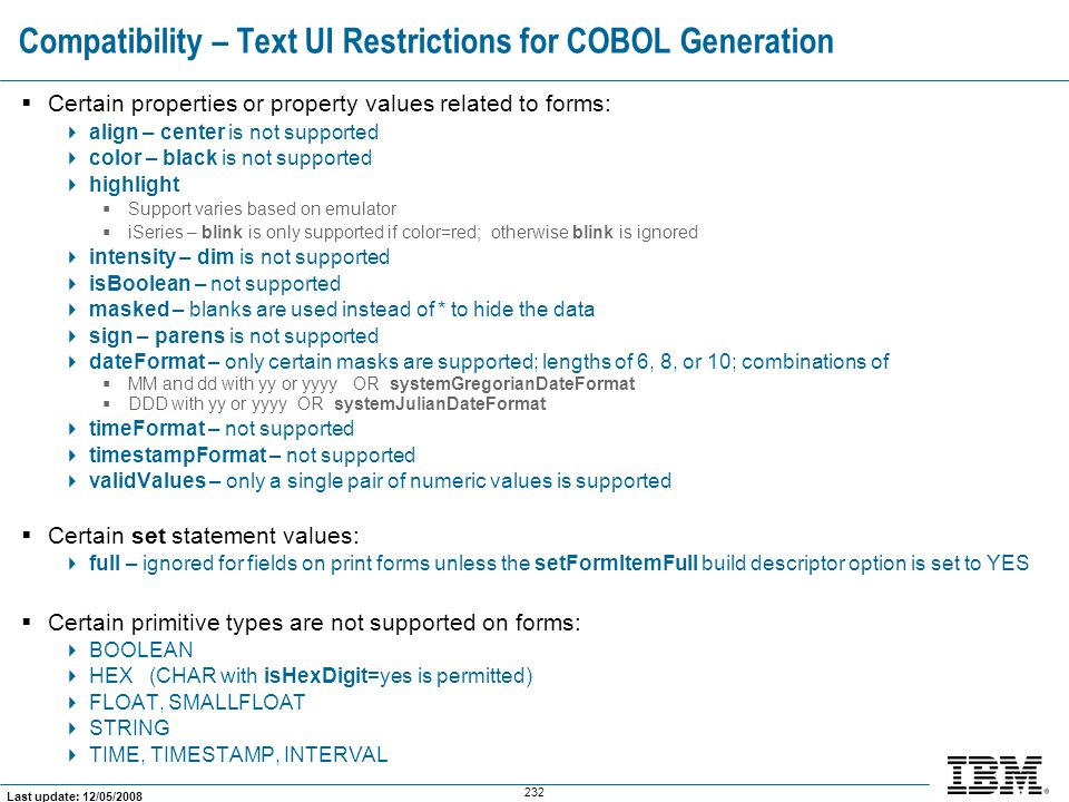 Compatibility – Text UI Restrictions for COBOL Generation