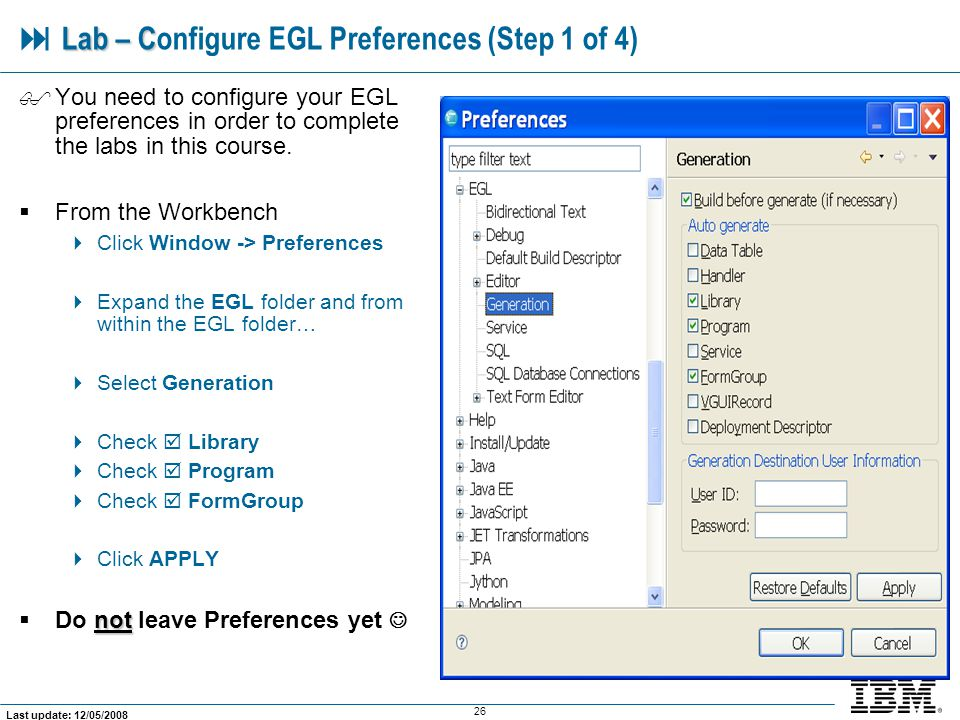  Lab – Configure EGL Preferences (Step 1 of 4)