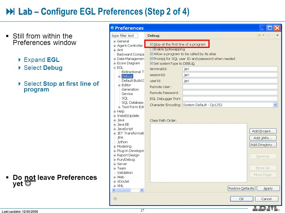  Lab – Configure EGL Preferences (Step 2 of 4)