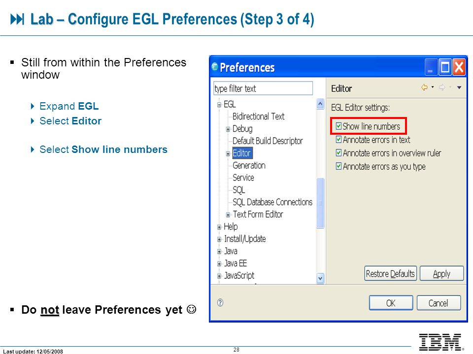  Lab – Configure EGL Preferences (Step 3 of 4)