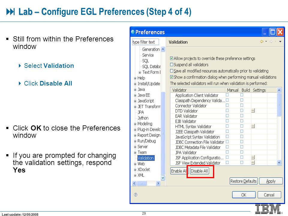  Lab – Configure EGL Preferences (Step 4 of 4)
