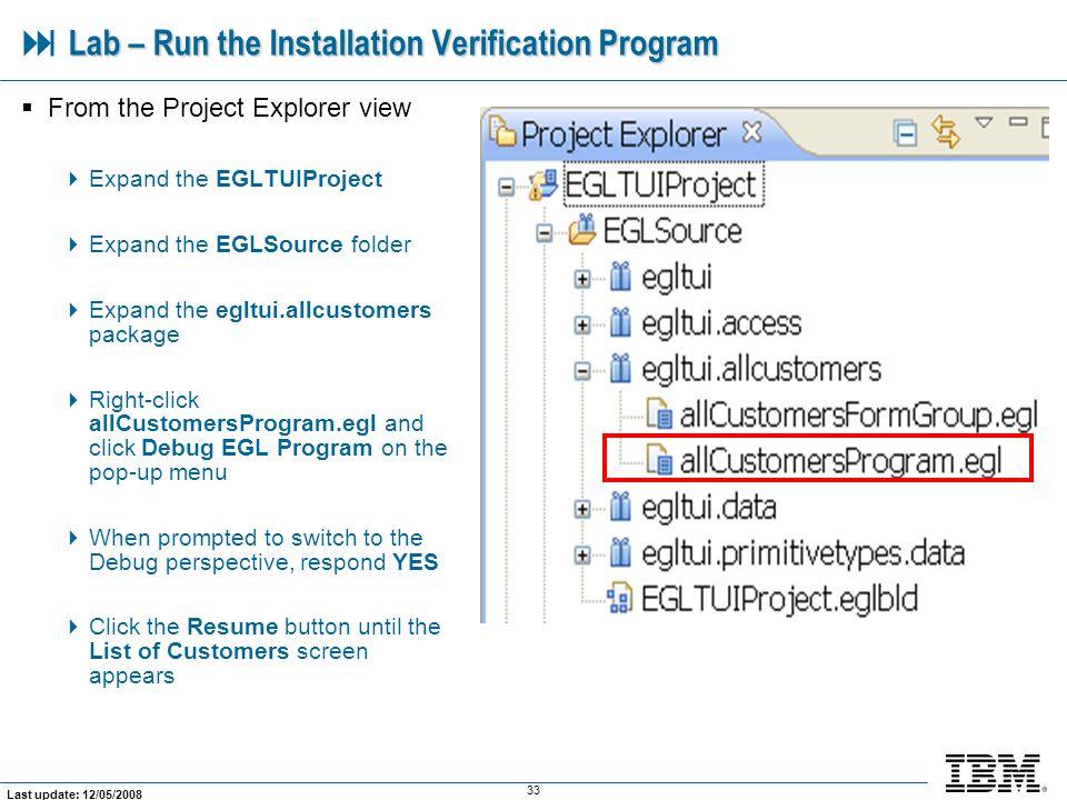  Lab – Run the Installation Verification Program