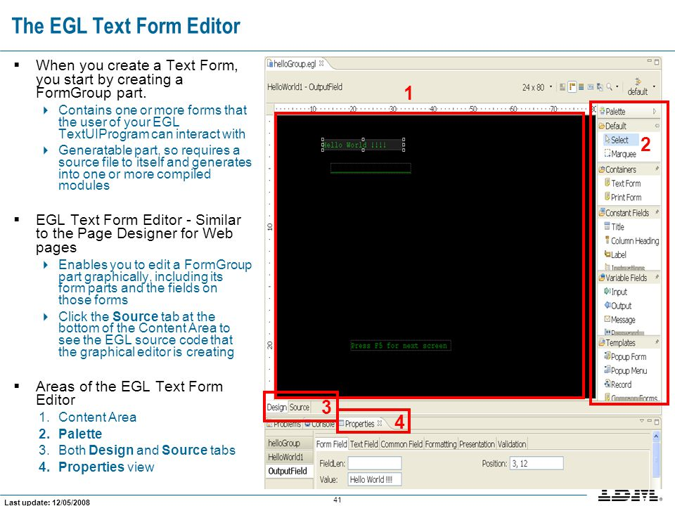 The EGL Text Form Editor