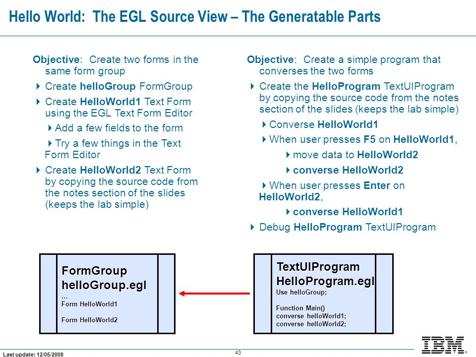 Hello World: The EGL Source View – The Generatable Parts