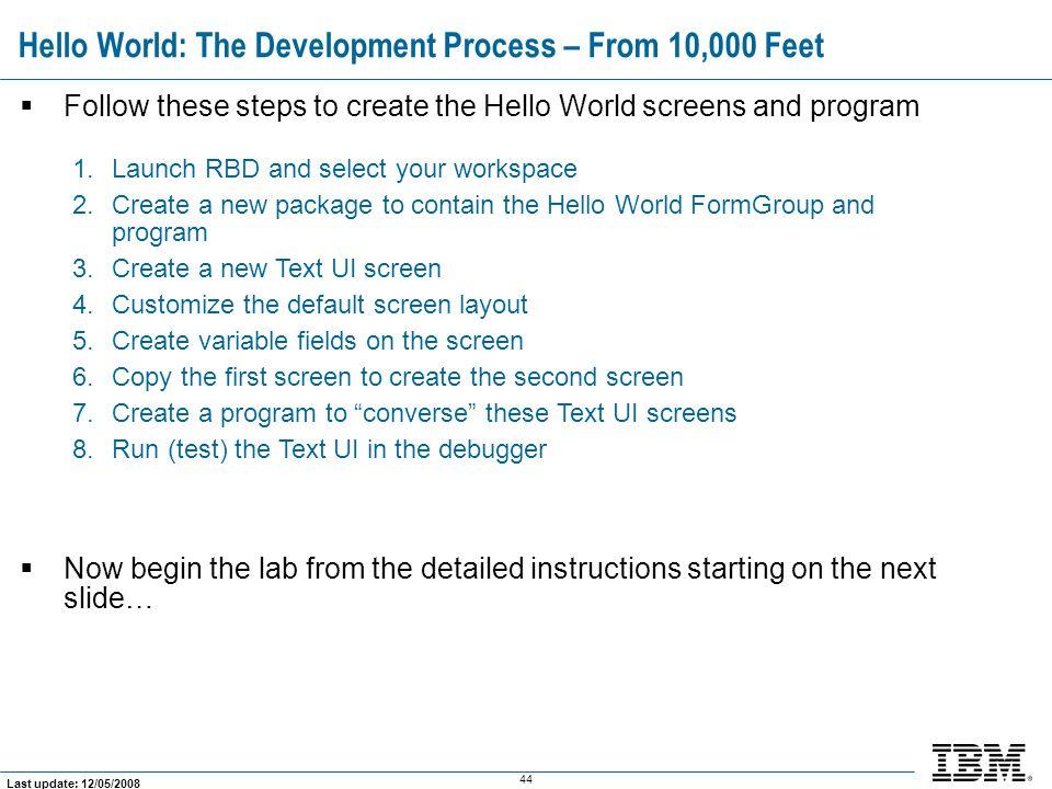 Hello World: The Development Process – From 10,000 Feet