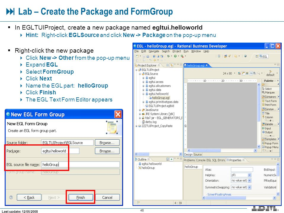  Lab – Create the Package and FormGroup