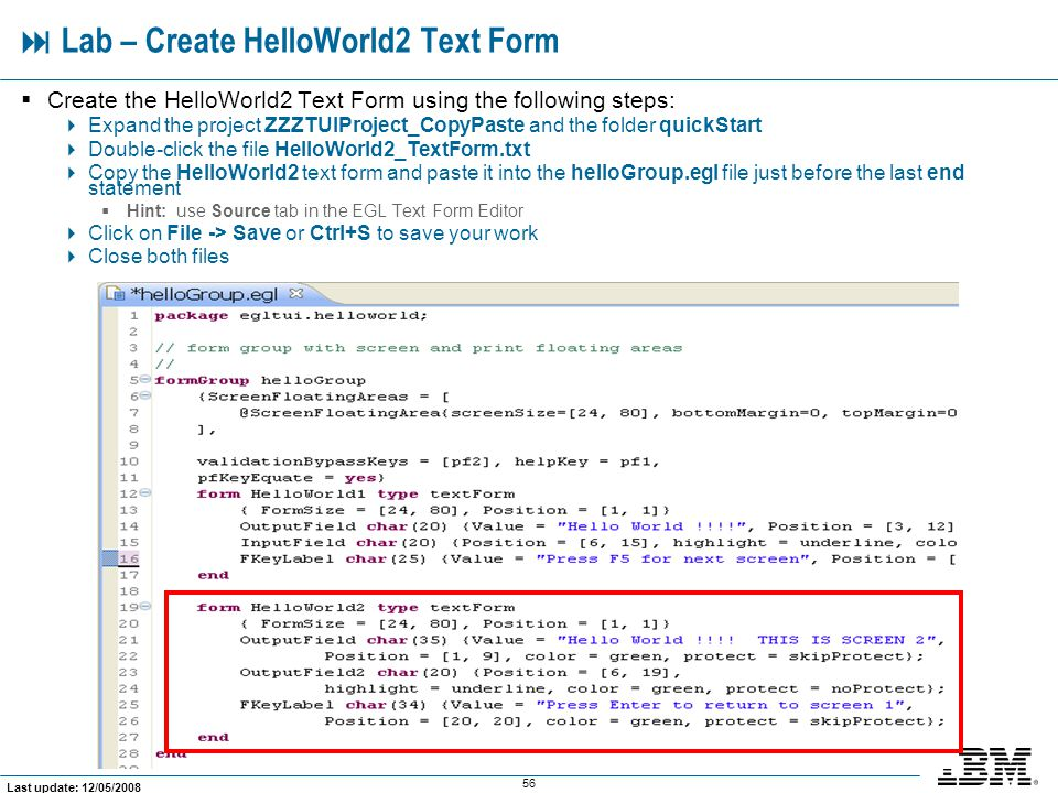  Lab – Create HelloWorld2 Text Form