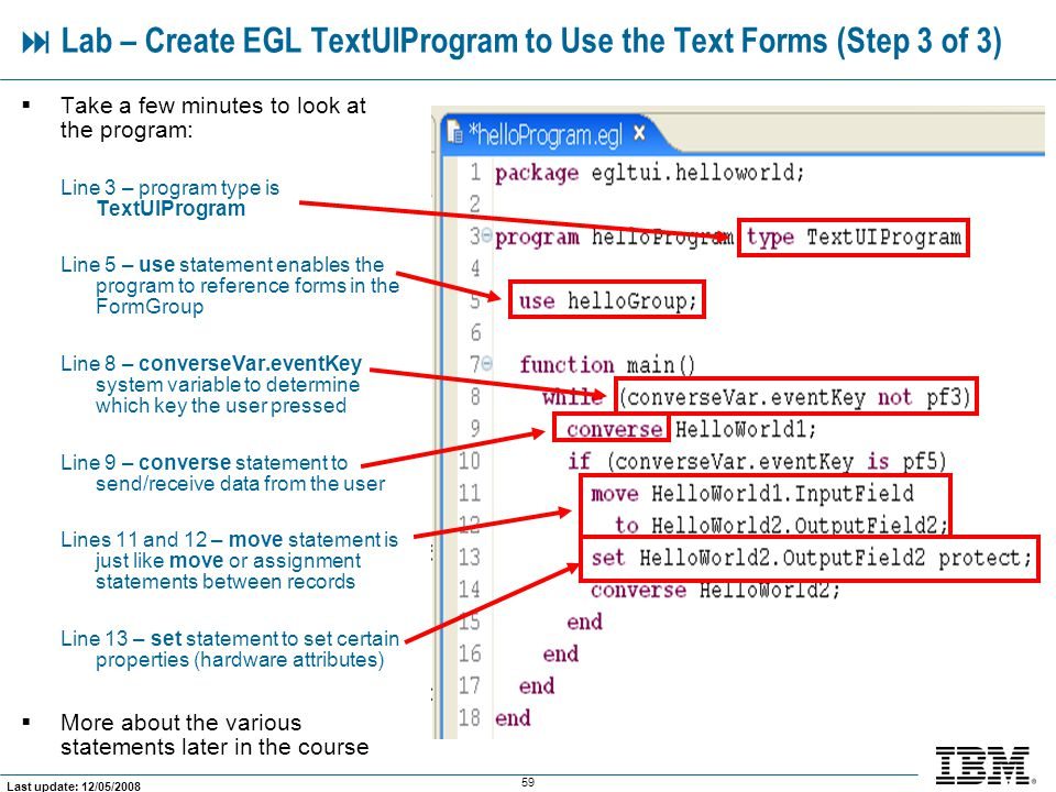  Lab – Create EGL TextUIProgram to Use the Text Forms (Step 3 of 3)