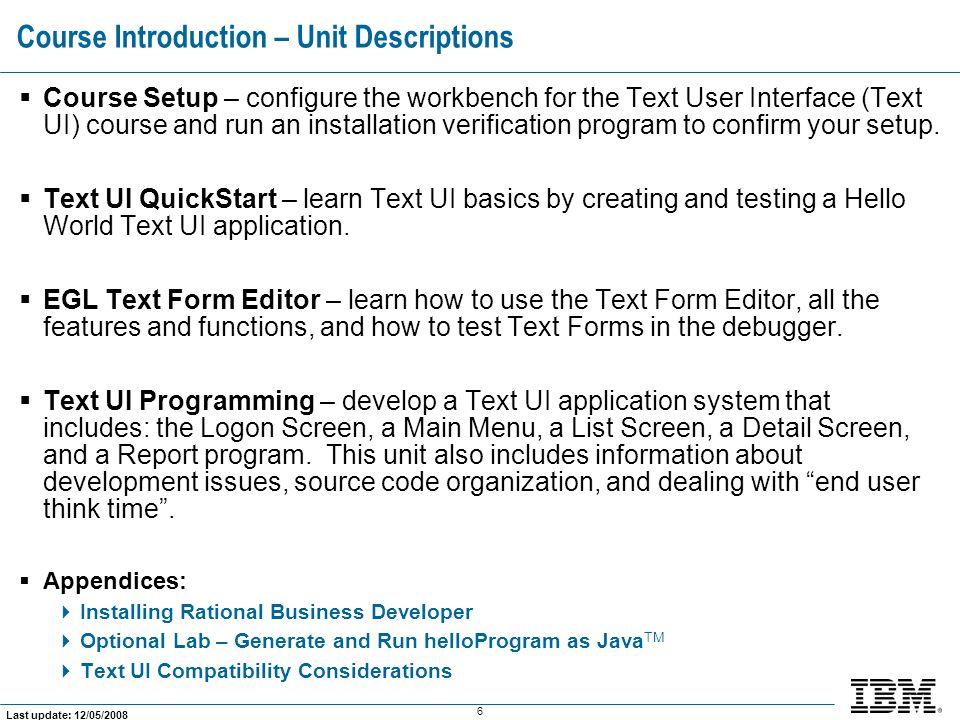 Course Introduction – Unit Descriptions