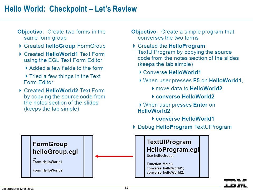 Hello World: Checkpoint – Let's Review