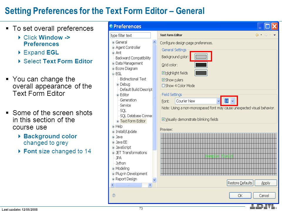 Setting Preferences for the Text Form Editor – General