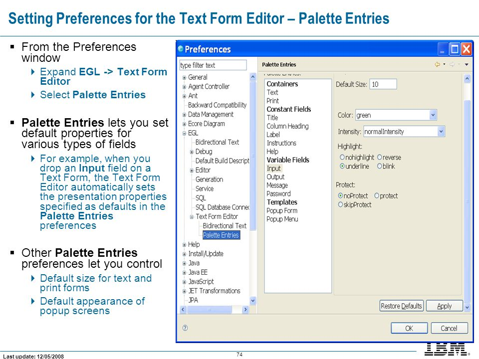 Setting Preferences for the Text Form Editor – Palette Entries