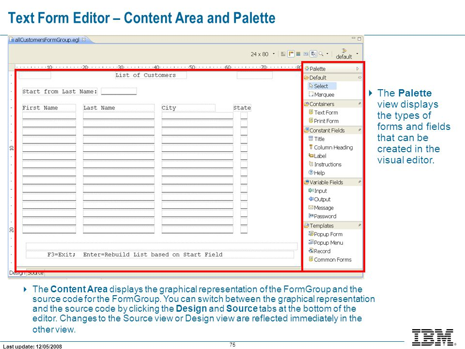 Text Form Editor – Content Area and Palette