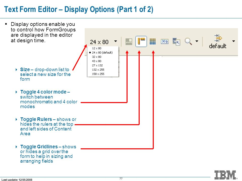 Text Form Editor – Display Options (Part 1 of 2)