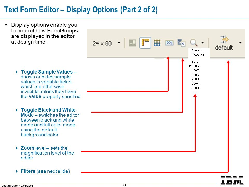 Text Form Editor – Display Options (Part 2 of 2)