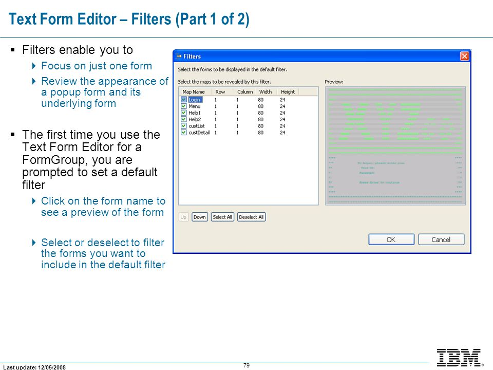 Text Form Editor – Filters (Part 1 of 2)