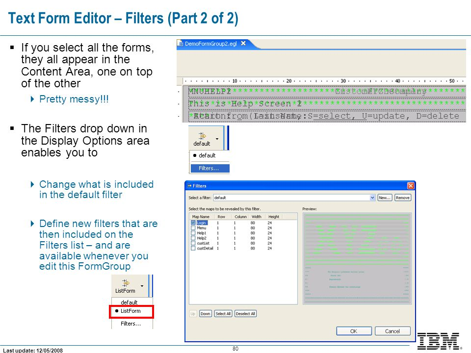 Text Form Editor – Filters (Part 2 of 2)