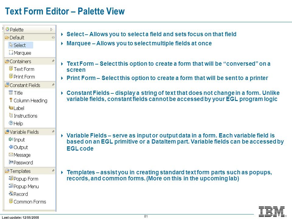 Text Form Editor – Palette View