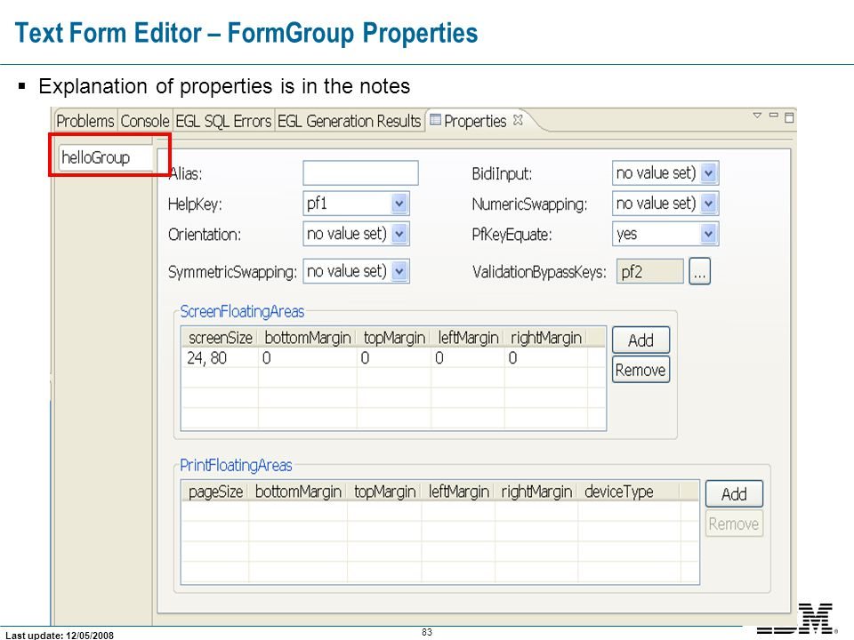 Text Form Editor – FormGroup Properties