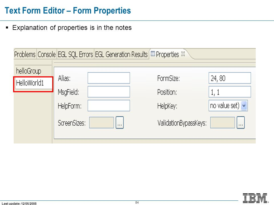 Text Form Editor – Form Properties