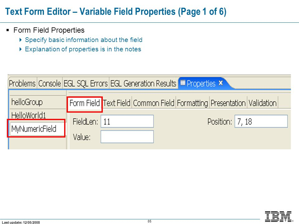 Text Form Editor – Variable Field Properties (Page 1 of 6)
