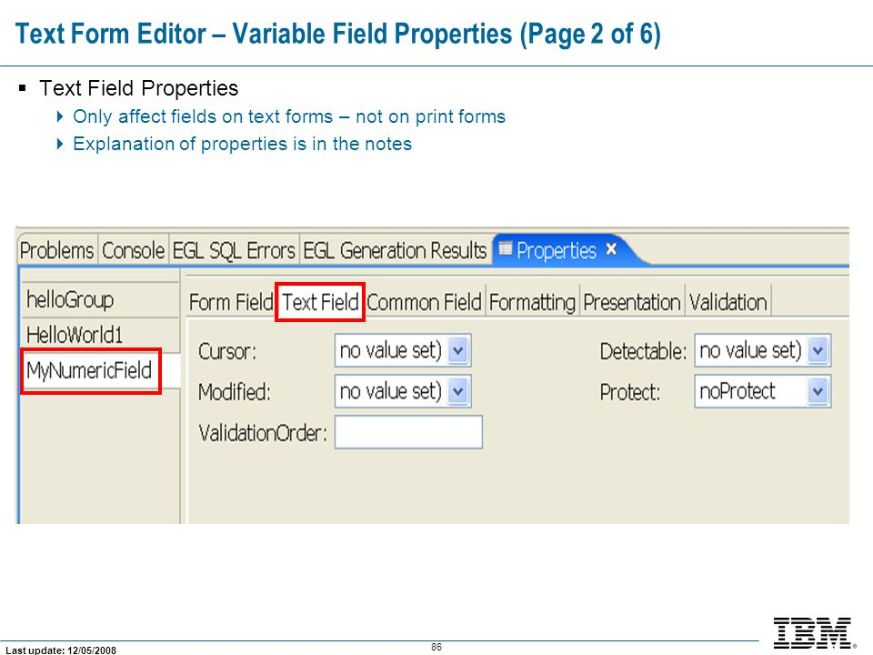 Text Form Editor – Variable Field Properties (Page 2 of 6)