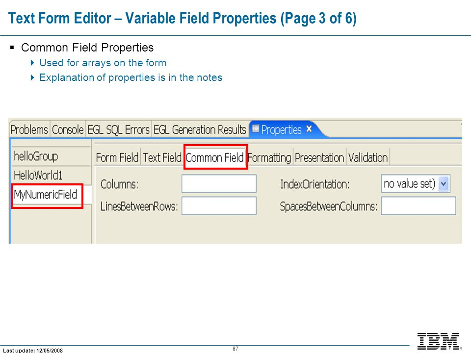 Text Form Editor – Variable Field Properties (Page 3 of 6)