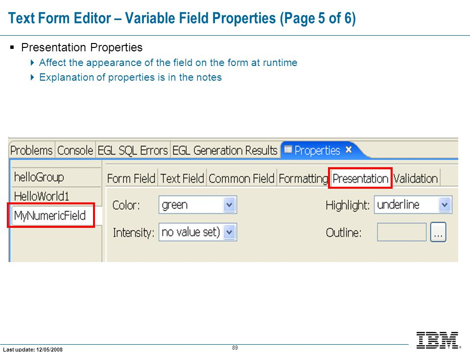 Text Form Editor – Variable Field Properties (Page 5 of 6)