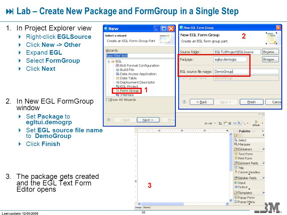  Lab – Create New Package and FormGroup in a Single Step