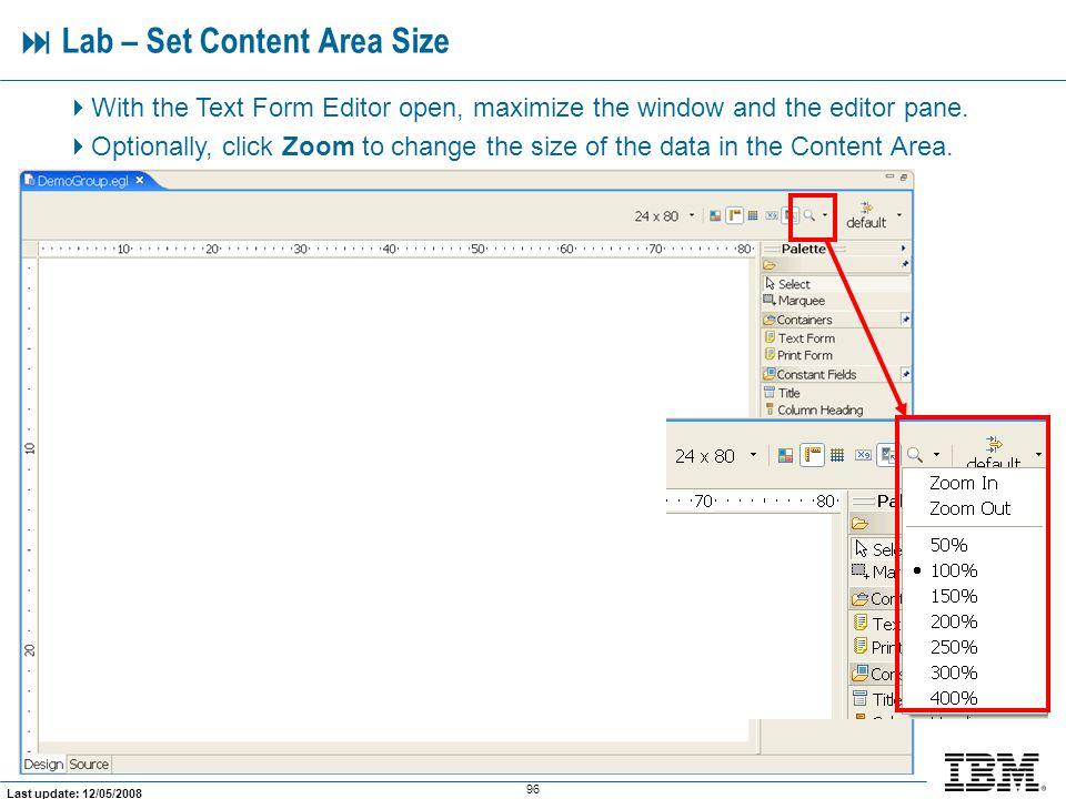  Lab – Set Content Area Size