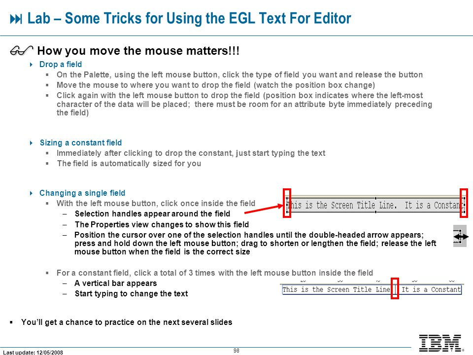  Lab – Some Tricks for Using the EGL Text For Editor