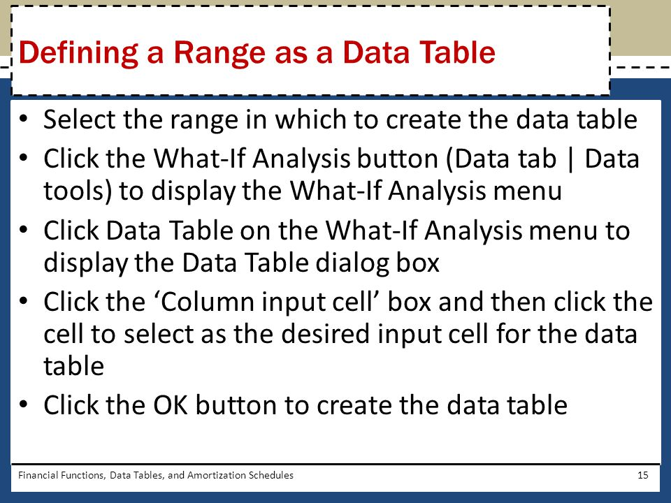 Defining a Range as a Data Table
