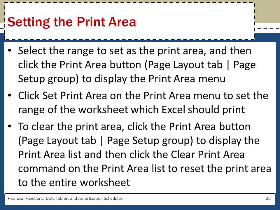 Setting the Print Area