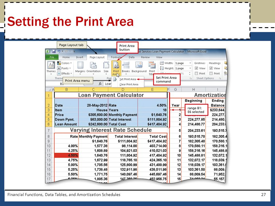 Setting the Print Area Financial Functions, Data Tables, and Amortization Schedules