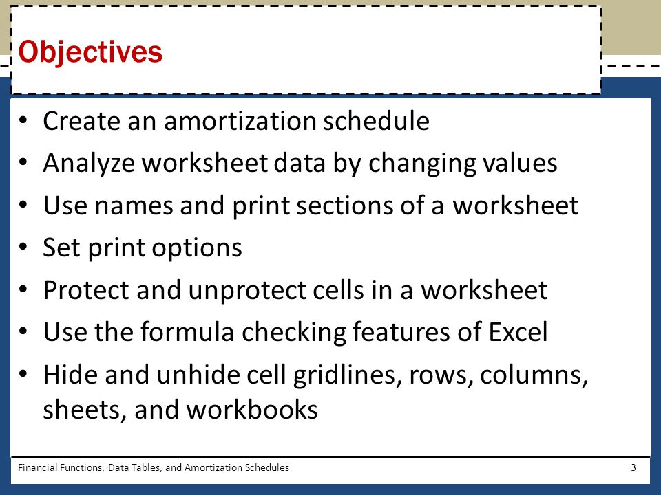 Objectives Create an amortization schedule