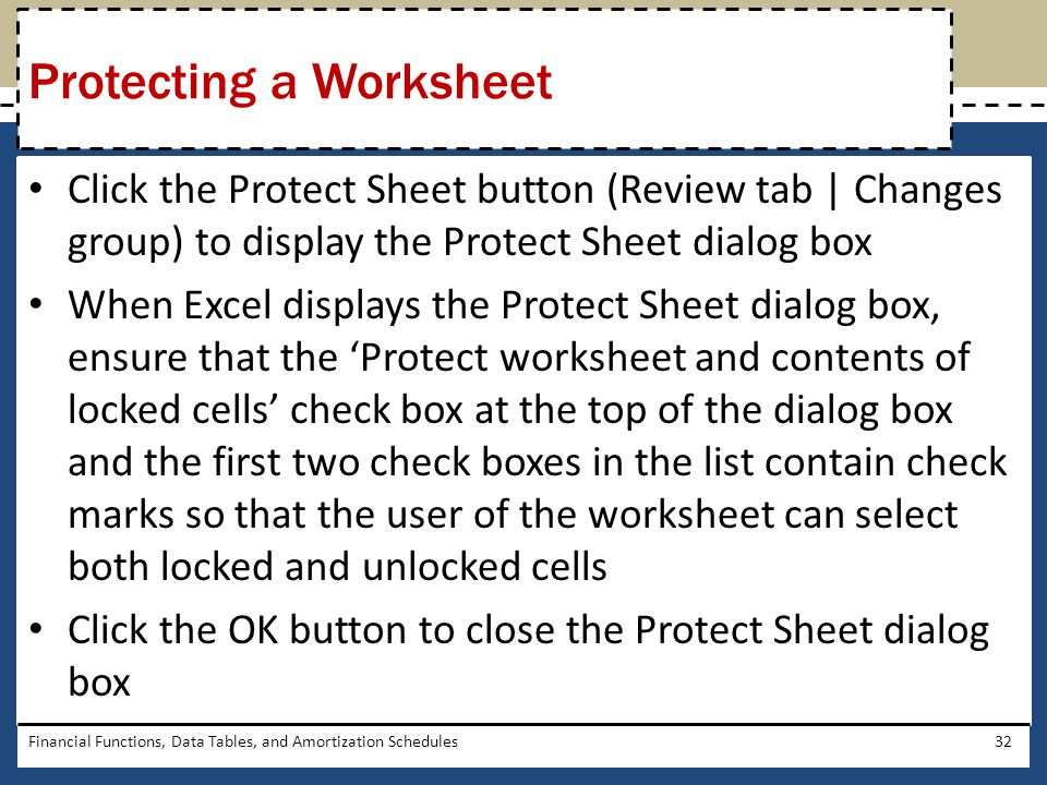 Protecting a Worksheet