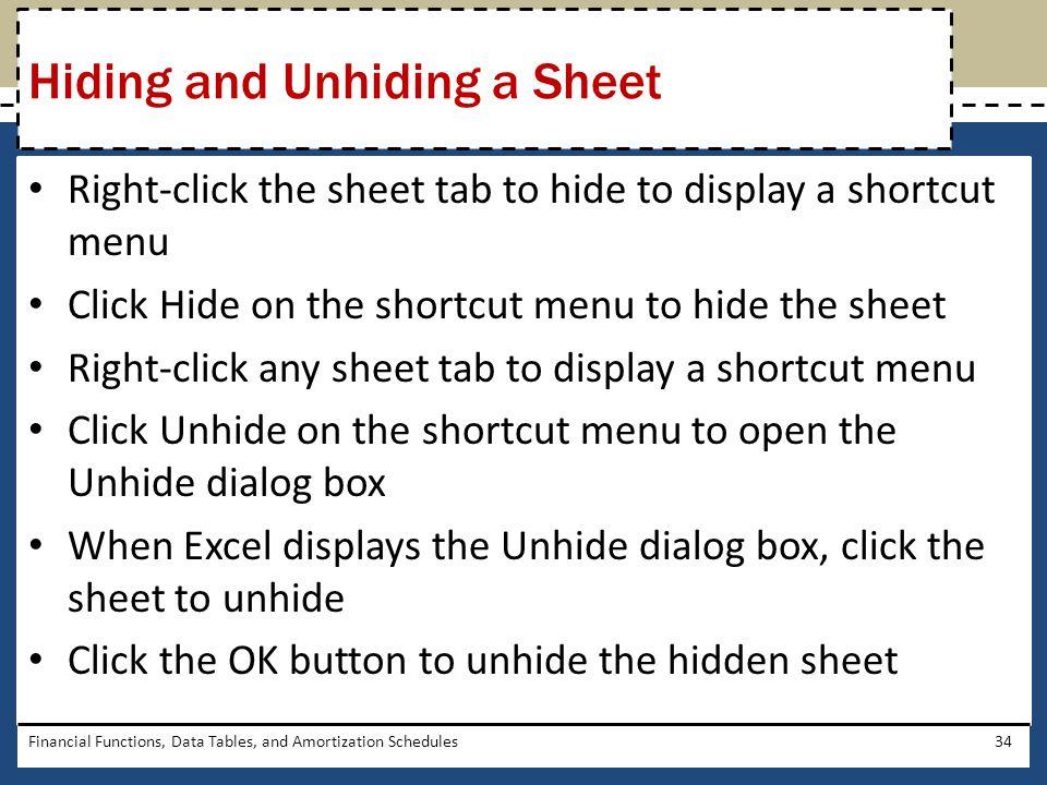 Hiding and Unhiding a Sheet