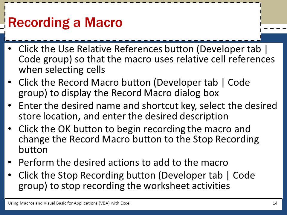 Recording a Macro