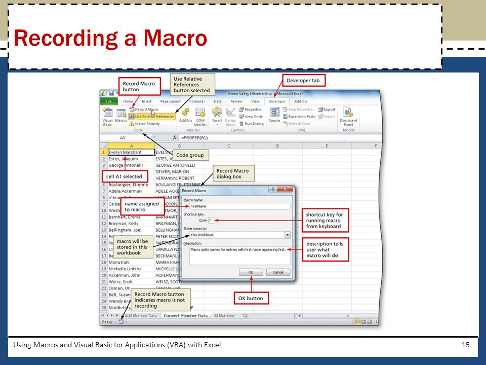 Recording a Macro Using Macros and Visual Basic for Applications (VBA) with Excel