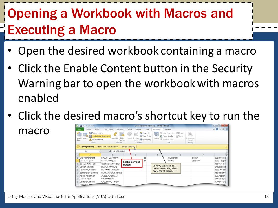 Opening a Workbook with Macros and Executing a Macro