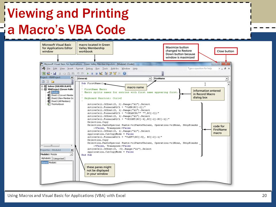 Viewing and Printing a Macro's VBA Code