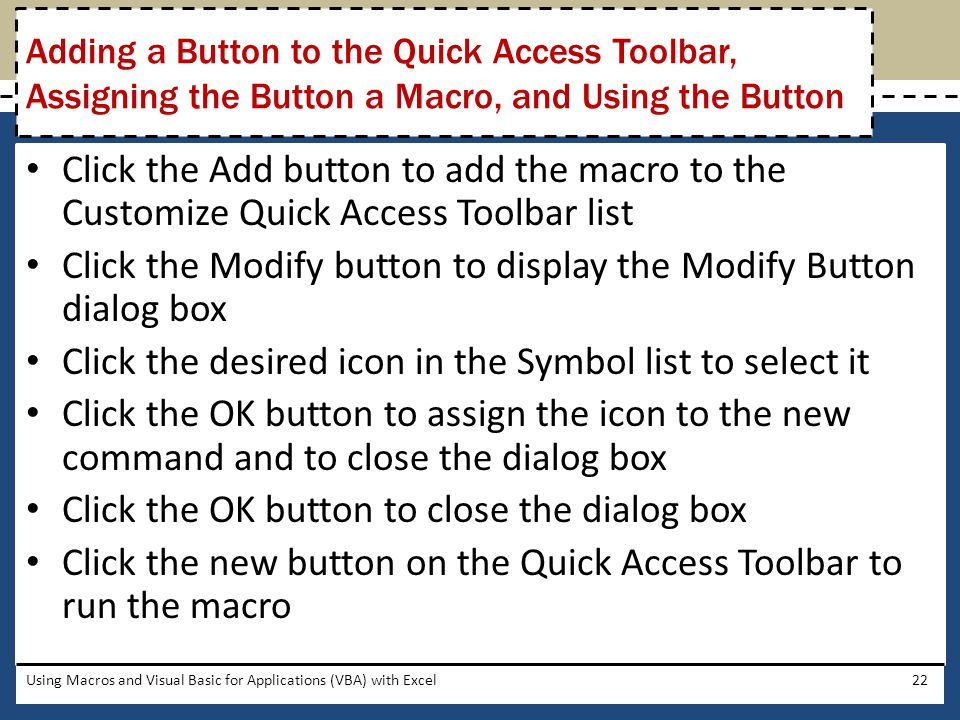 Click the Modify button to display the Modify Button dialog box