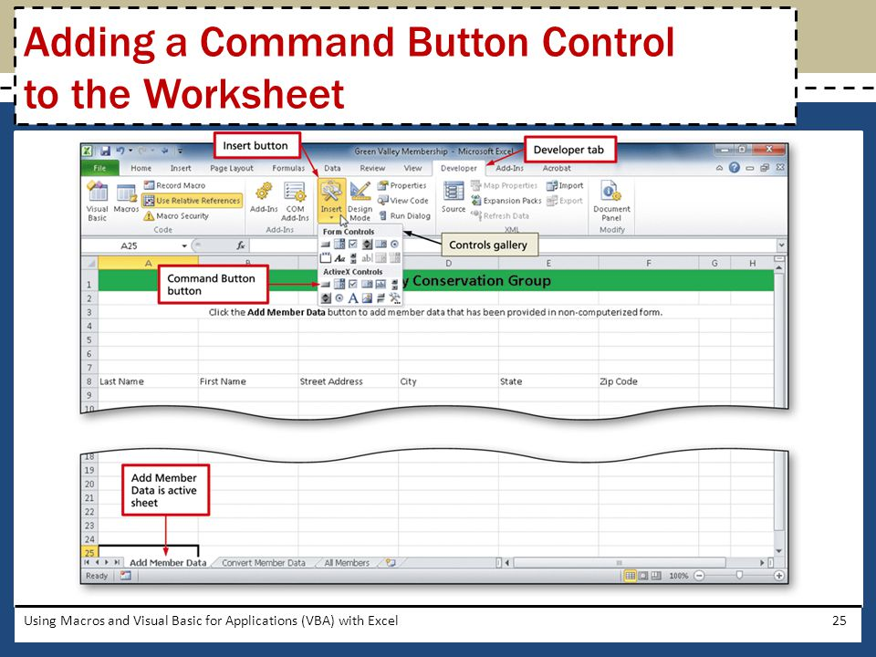 Adding a Command Button Control to the Worksheet