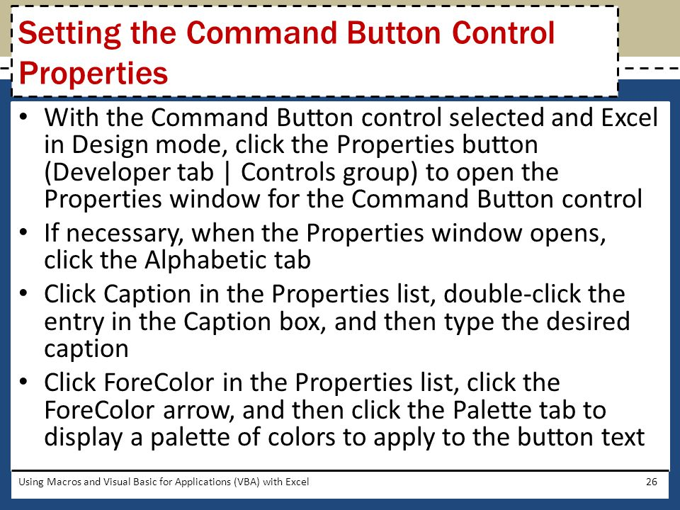 Setting the Command Button Control Properties
