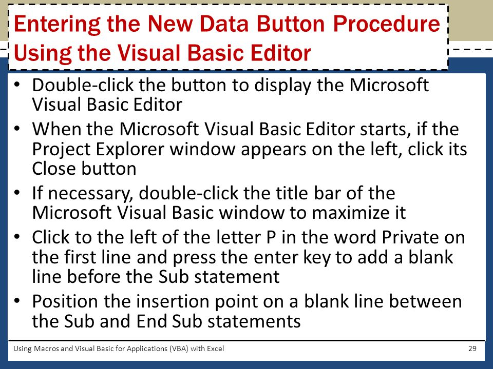 Entering the New Data Button Procedure Using the Visual Basic Editor