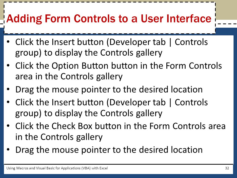 Adding Form Controls to a User Interface