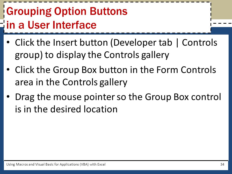 Grouping Option Buttons in a User Interface